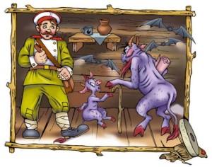 Русские народные сказки. А. Н. Афанасьев. Беглый солдат и чёрт